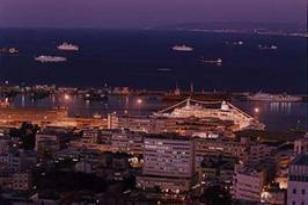 Haifa port at night